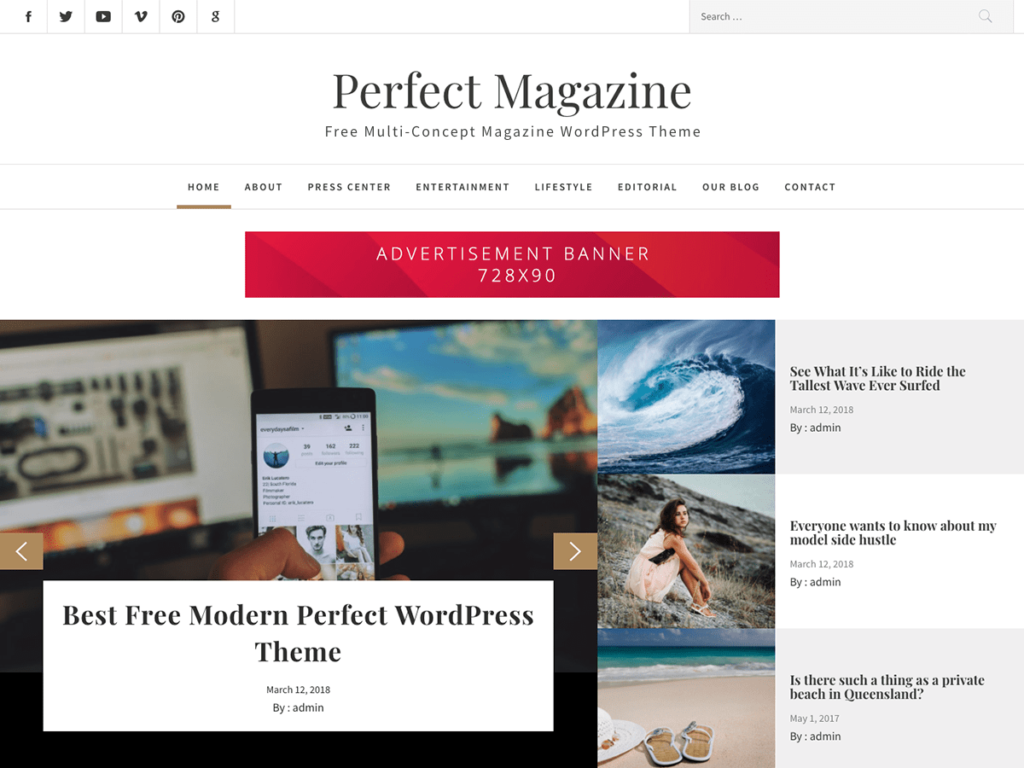 Perfect Magazine is a stylish WordPress free magazine theme